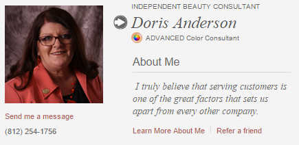 Doris A. Anderson;  Beauty Consultant for Mary Kay