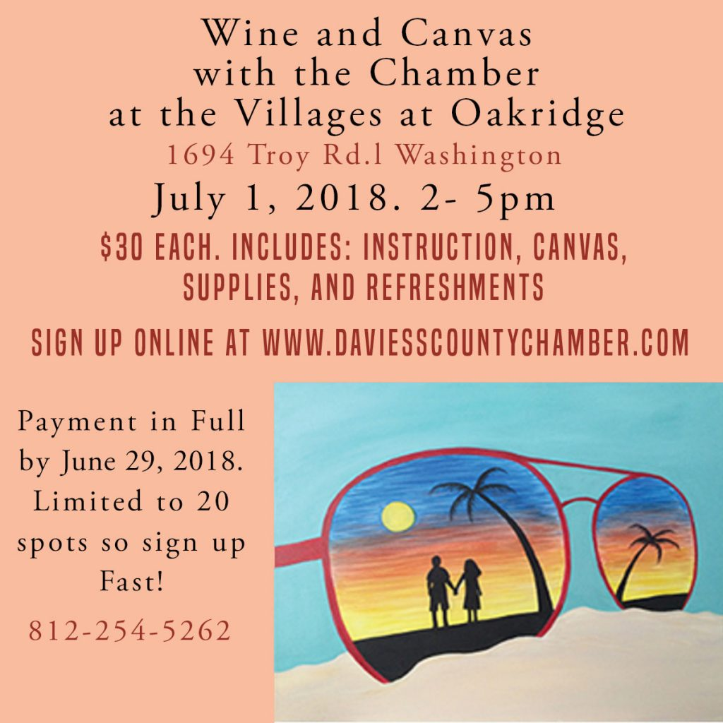 Wine & Canvas at the Villages at Oak Ridge July 1st