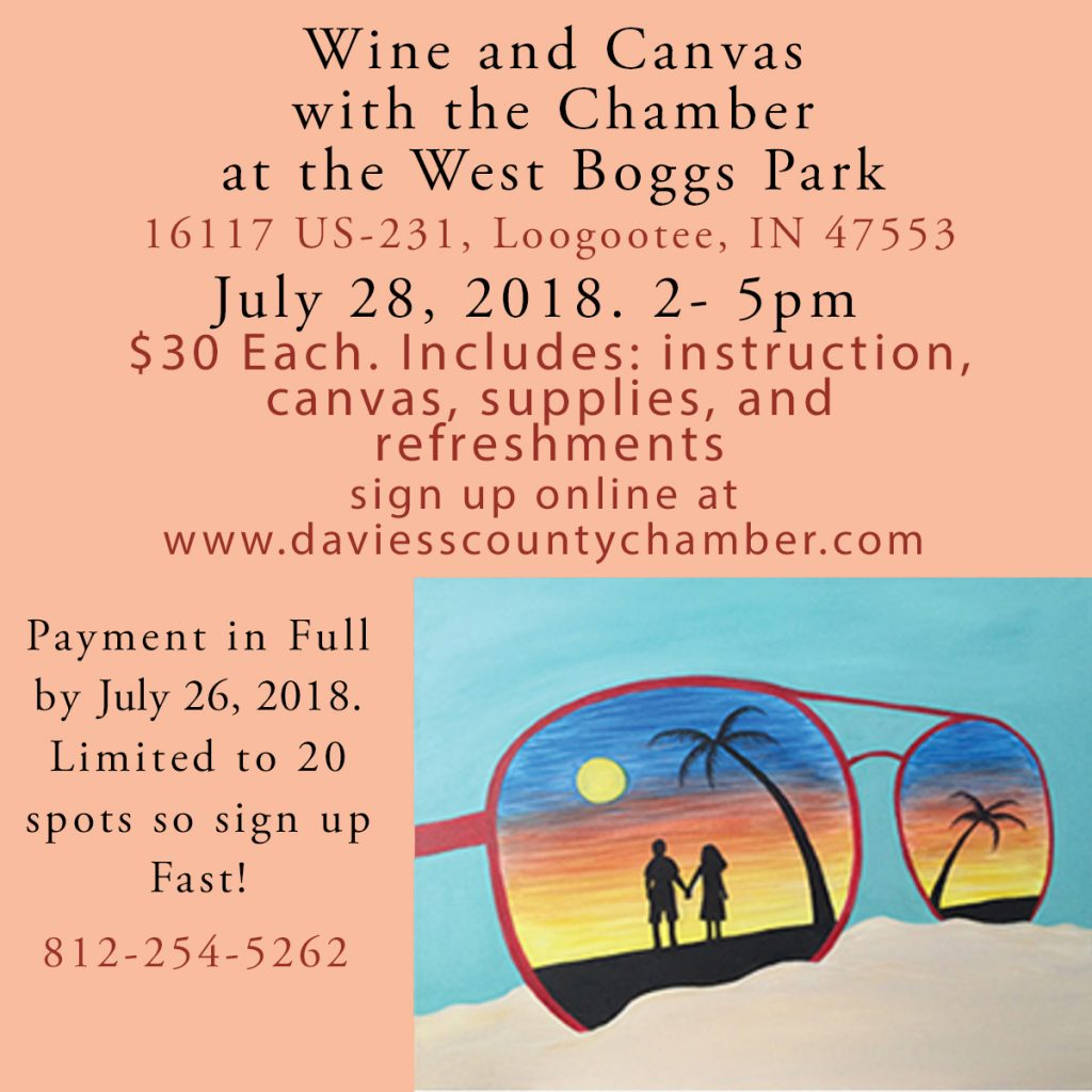 Wine and Canvas at West Boggs! July 28th, 2018